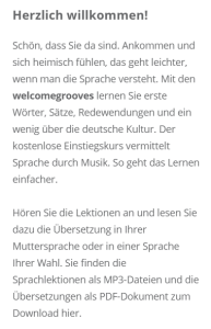 Welcome Grooves Vorwort Deutsch