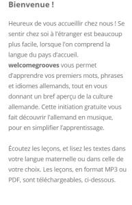 Welcome Grooves Vorwort Französisch