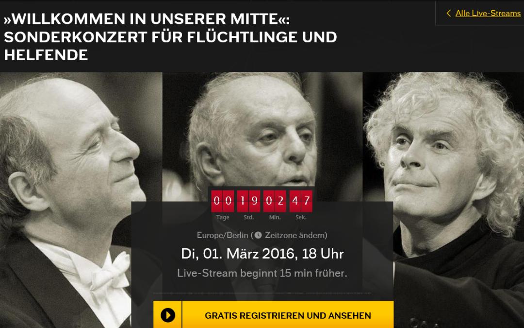 Sonderkonzert für Flüchtlinge und Helfer – Berliner Philharmoniker – (kostenlos abrufbar)