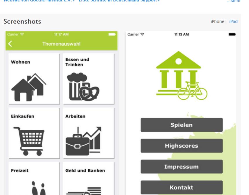 Erste Schritte in Deutschland. Eine App des Goethe-Instituts (für Android und Apple).