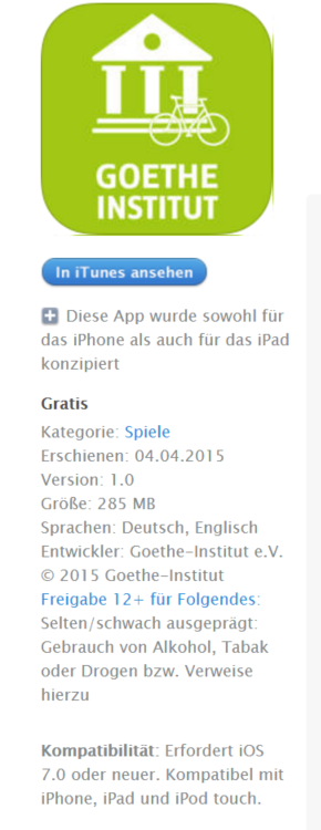 App - Erste Schritte, techn. Spezifikation
