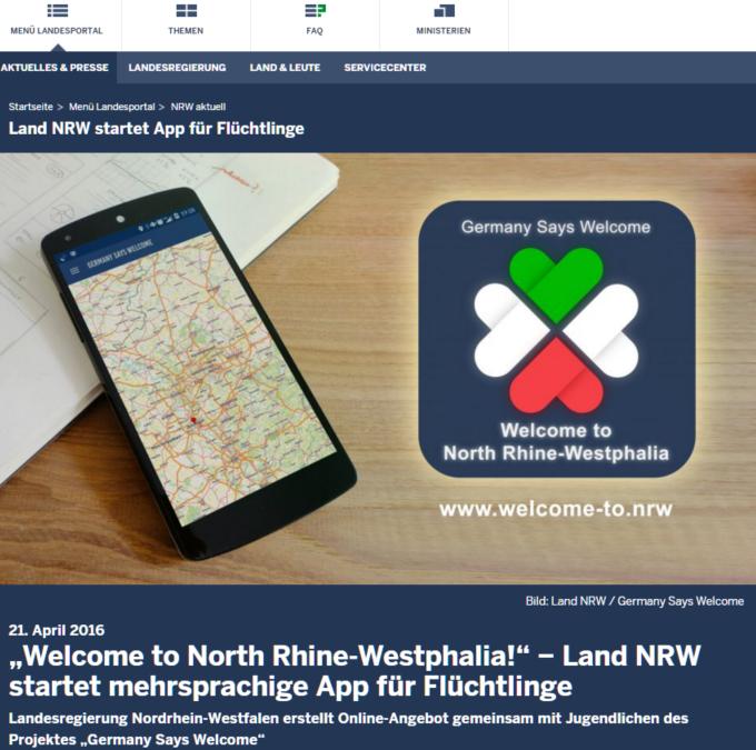Land NRW: Neue App für Flüchtlinge (Arabisch, Deutsch, Englisch, Französisch)